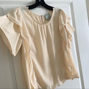 Maeve Anthropologie Cream Ivory Ruffle Side Blouse